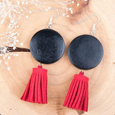 Long Drop Tassel Earrings Red Black Big Large Wood Suede Round Dangle Geometric