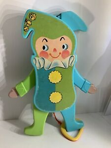 Vintage 1969 Fisher Price Jolly Jumping Jack 145 Toy Pull String Squeak WORKS!