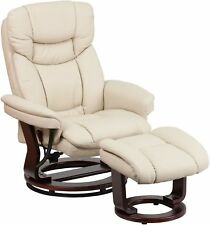 Eudy Manual Recliner with Ottoman, White Comfort Set, Made in Usa
