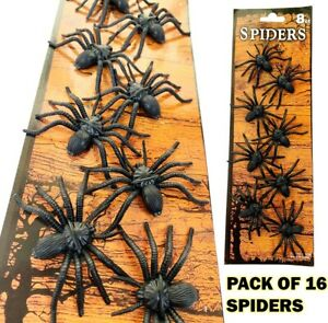 Fake Spiders Pack of 16 - Scary Joke Novelty Prank Halloween Funny Party Gift UK