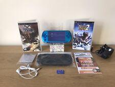 Refurbished Sony PSP 3000 Bundle in Blue + Games & Extras  Monster Hunter   #28