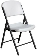 Folding Chair Wide Blow Molded Seat and Back in White with Steel Folding Frame