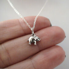 Tiny Elephant Necklace - 925 Sterling Silver - Strength Animal Charm Gift New