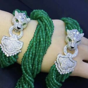Panther jaguar leopard sterling silver 925 cz crystal green agate beads necklace