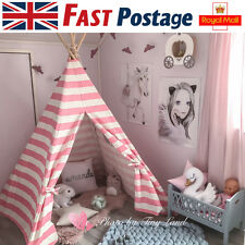 Large Pink Princess Girl Teepee Cotton Canvas Kids Wigwam Play House Outdoor Toy