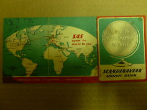 SCANDINAVIAN AIRLINES ERALY ROUT MAP & TIMETABLE 22*10CM 1951 SWEDEN
