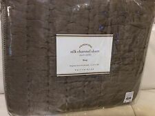 Pottery Barn Quilted Silk Channel Two Toned King Sham Brownstone NIP