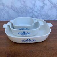 Set Of 3 Corning Ware Blue Cornflower Casserole Dishes P-10-B P-1 -B P-43-B