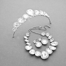 Silver and Crystal Tiara Necklace and Earring Set