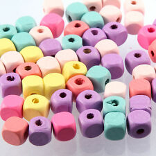 50pcs New Wooden Multi-Color Cube Beads Charms Spacer DIY Bracelet Making 10mm
