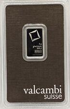 5 gram Platinum Bar - Valcambi- 999.5 Fine in Assay