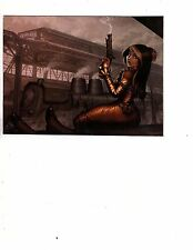 Unframed Art Poster Fantasy Steampunk Woman with Weapons in TrainStation (360md)