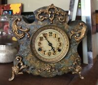 New Haven Iron Case Mantle Clock Ornate French