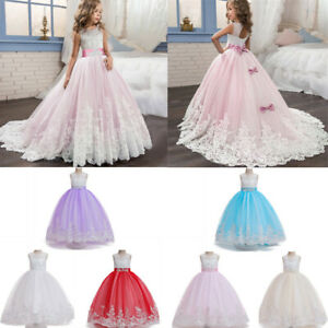 Girls Dresses Party Bridesmaid Flower Kids Wedding Tutu Princess Pageant Toddler