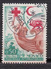TIMBRE MONACO OBL N° 607   CROIX ROUGE CROISSANT ET LION ROUGES