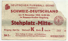 Ticket 09.11.1952 Deutschland - Schweiz / Switzerland in Augsburg