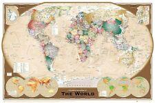 WORLD MAP POSTER Tripla Proiezione SATIN MATT LAMINATO NUOVO