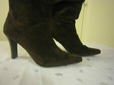 WHITE MOUNTAIN LEATHER SUEDE HIGH HEEL RUCHED DARK BROWN BOOTS SIZE 7M