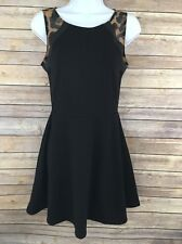 Heart Soul Little Black Dress Faux Leather Cheetah Sleeveless Skater Size Small