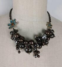Betsey Johnson Turquoise Floral Statement Bronze Bead Necklace NEW