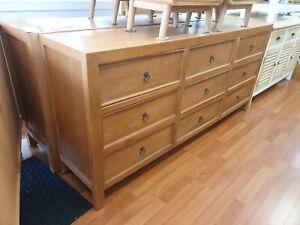 Hamptons classic narrow 9 drawer  chest of  drawers dresser lowboy  180x40x82