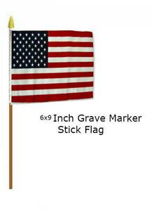 "6x9 6""x9"" USA American 50 Star Grave Marker Stick Flag wood Staff"