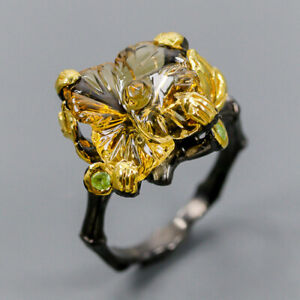 Jewelry Handmade Design  Citrine Ring Silver 925 Sterling Size 8 /R149613