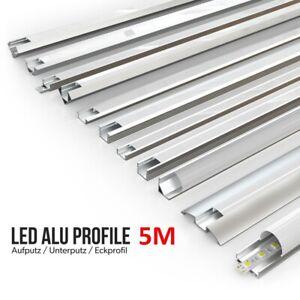 5m LED Profil Aluprofil Aluminium Rail Baguette Profile Pour Led-Bande Anodisé