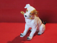 Vintage porcelain Harrier or Foxhound hunting dog with a bone figurine