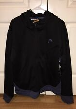 NWT $70 HEAD Men Classic Athletic Track Casual Jacket Zip Up Hoodie Black Blue M