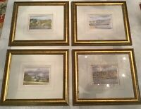 Set of 4 Artist Ken Burton Lovely Watercolor Pictures of Lake Windermere England