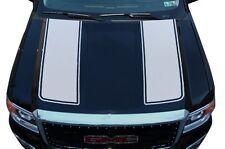 Vinyl Graphics Decal Wrap Kit fits 2014-17 GMC Sierra RACING STRIPES Matte White