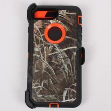 For iPhone 7 Plus Orange/Grass Camo Case Cover (Belt Clip Fits Otterbox Defender