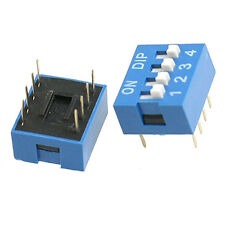 10 Pcs 2 Row 8 Pin 4P Positions 2.54mm Pitch DIP Switch Blue LW