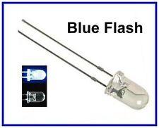 50 Blue Flash 5mm Blink LEDs Bulb Free Resistors