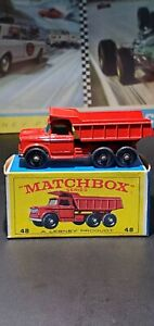 Vintage DIECAST Matchbox Lesney No. 48 Dumper Truck Red Made In England~w/Box