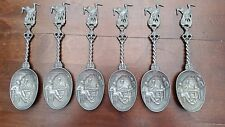 Lot of 6 Vintage Holland Dutch Collector Pewter Spoons