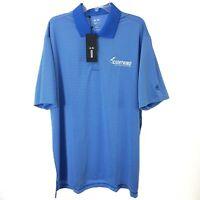 NWT Adidas Climalite Mens XL Blue/White Striped Sleeve Polo Shirt