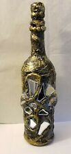 Wine Bottle Hand Decorated with mirror. Undeniably unique. Handmade.