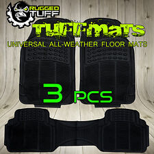 NEW RUGGED TUFF 3 PCS FLOOR MATS BLACK UNIVERSAL ALL WEATHER HEAVY DUTY TRIM FIT