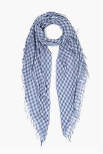 NEW 2020! Chan Luu GINGHAM Gray Blue Cashmere Silk Scarf Wrap Shawl