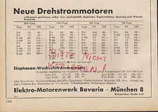 MÜNCHEN, Werbung 1950, Elektro-Motoren-Werk Bavaria Einphasen-Wechselstrom-Motor