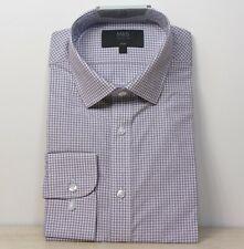 """M&s Baumwollmischung Slim Fit Langarm Shirt ~ Gr. 15.5"""" ~ burgund kariert"""