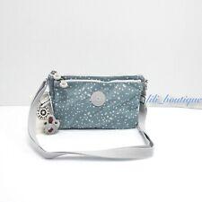 NWT New Kipling KI0969 Mikaela Crossbody Shoulder Bag Nylon Silver Sky Blue $49