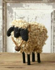 Primitive Sheep with Bell Woolly Antique Style Farmhouse Figurine Shelf Sitter
