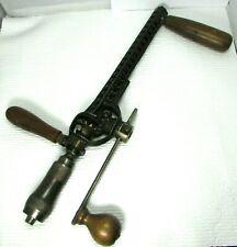 Antique Rusby Patent Brace Hand Crank Drill Wood Tool Newark NJ Cast Iron