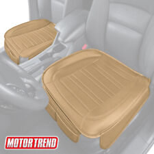 Car Seat Cushion Beige Faux Leather 2 Pack Universal Fit For Front Seats Fits Seat