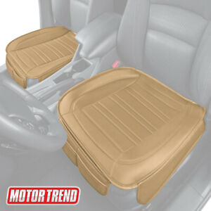 Car Seat Cushion, Beige Faux Leather (2-Pack) - Universal Fit for Front Seats