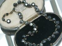 BEAUTIFUL 1950's rare open back BLACK DIAMOND CRYSTAL RIVIERE GLAMOUR neckalce