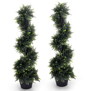 2X Large Artificial Cedar Spiral Trees w/ Pot  Fake Topiary Plant In/Outdoor 4FT